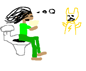 Rastafari misses sad pikachu while taking a dump