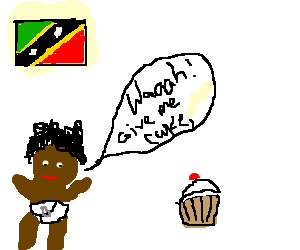 Afro-Caribbean baby demands cake w/cherry atop