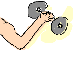A slow-motion animation of guy lifting dumbbells