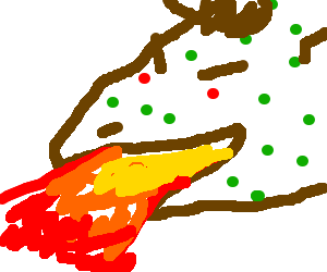 Brown dinosaur with green acne breathes fire.