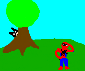 Batman and Spiderman playing Hide-and-seek.