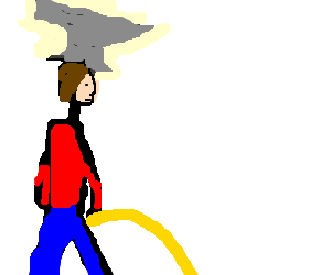 pissing man with an anvil over the head