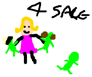 Blond lady sells green Three Stooge figurines