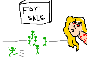 Blonde girl selling small green people. 1 ran.