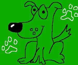green dog steps in water, creates wet paw prints