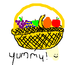 how to draw a fruit basket easily