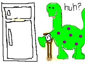 Disabled dinosaur is confused by fridge.