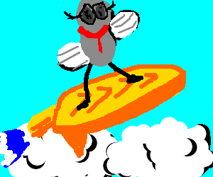 hipster fly surfs the clouds on a jet surfboard