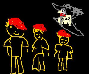 three yellow men with red caps vs sharkmobile