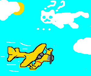 Confused speechless cloudcat flying over biplane