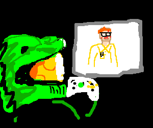 Master Chief Plays Video game About Nerds
