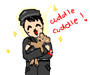 Hitler in naziuniform, cuddles with teddybear