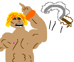 Nude He-Man is angry at floating wobbly scimitar