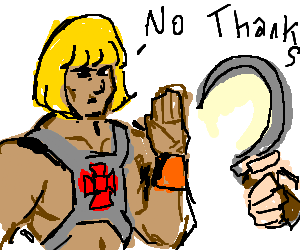He-man rejecting a sickle