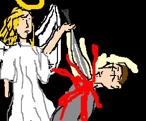 An angel kills a man with a sword