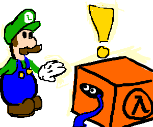 Luigi wonders if Snake is in the orange box