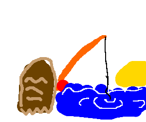 a piece of bread goes fishing