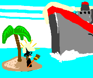 shipwrecked witch about to be hit by ocean liner