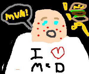 fat bald kid loves Mc donalds