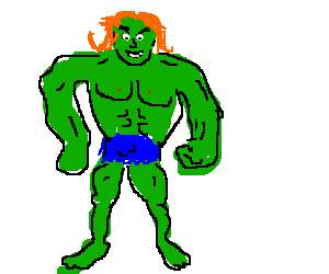 Hulk's orange hair, a wig???