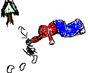 Spiderman erases his traces from the snow