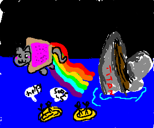 Nyan Cat escapes from sinking Titanic