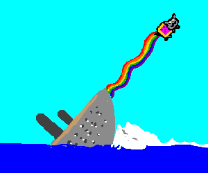 Titanic sinks, nyan cat saves the day.