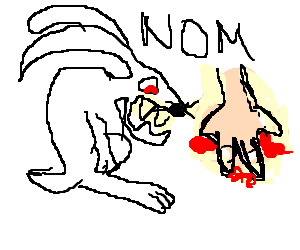 Angry rabbit eats human hand