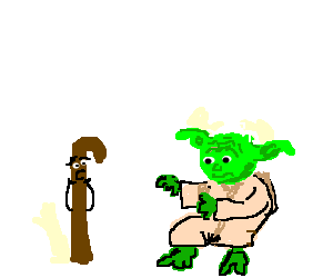 evil yoda sneaks behind sentient walking stick