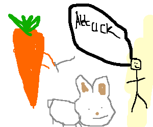 Man trains carrots to attack giant rabbits