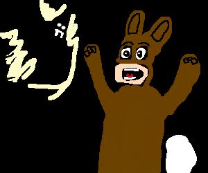 bat scares man dressed as bunny