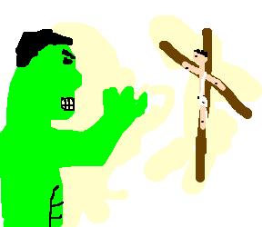 Hulk is angry in front of a cross of jesus
