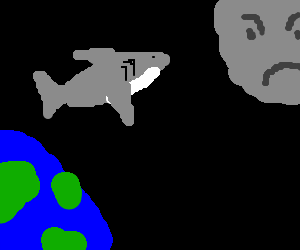 Giant peeing shark jump from earth to angry moon
