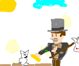 Hobo serving butter to white cat
