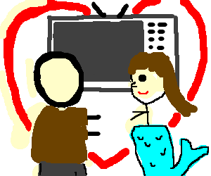 faceless man and mermaid fall in love at the tv