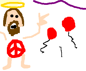 Hippy Jesus Rocking out at No Pants Party