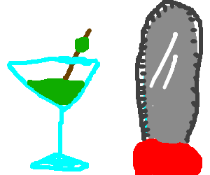 a green martini an olive and a chainsaw please