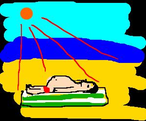 fat sunbather