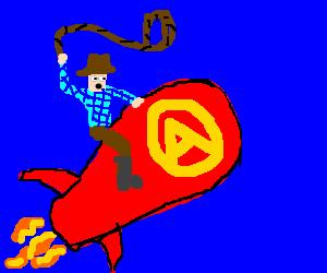 Cowboy riding an atomic bomba