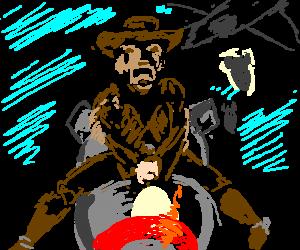 frightend cowboy riding a-bomb