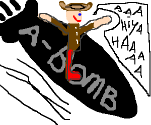 Slim Pickens rides the bomb in Dr. Strangelove