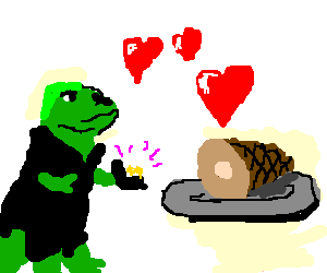 Dinosaur proposes to a ham