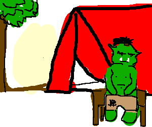 Orc sits in front of his tent