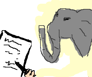 man signing a contract for an elephant
