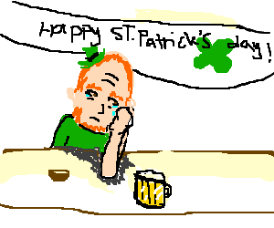 Lonely irish man at a bar on St.Patrick's day