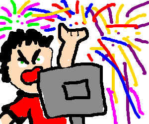 Man angry at monitor throwing fireworks