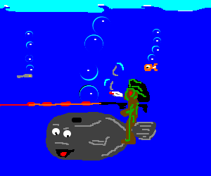 stoned predator riding a whale singing