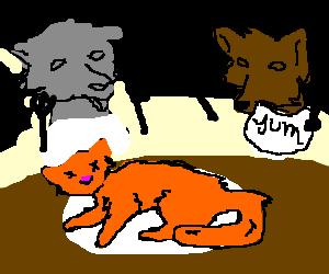 Dogs prepare to devour dead cat