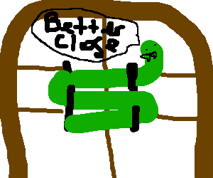 "Snake door chain lock saying ""Better Close"""