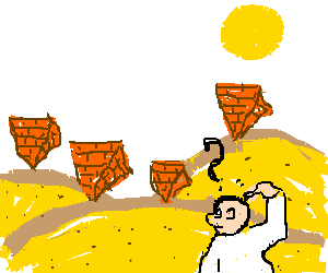 Man puzzled at upsidedown pyramids